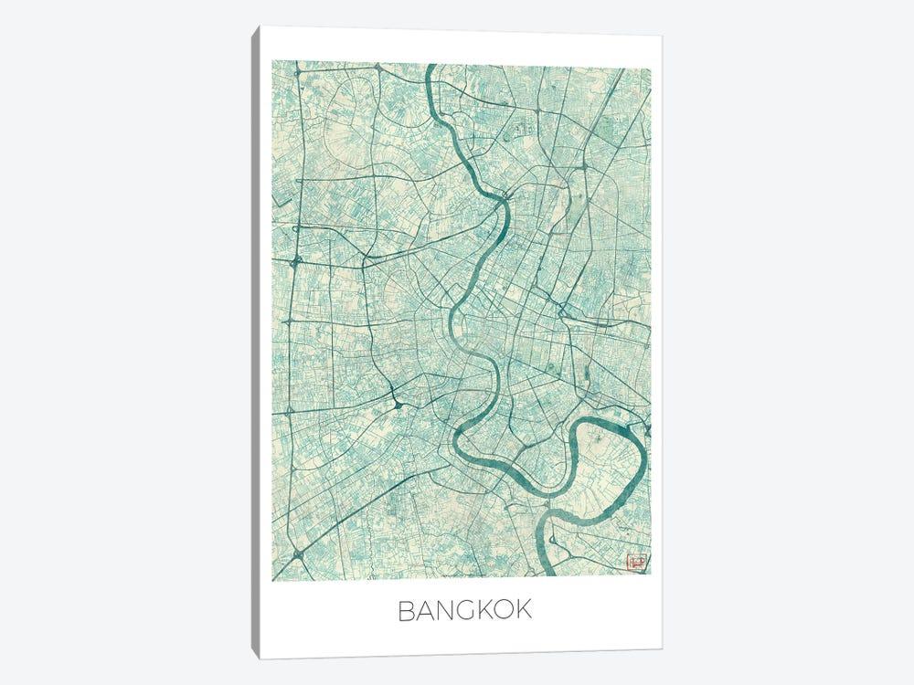 Bangkok Vintage Blue Watercolor Urban Blueprint Map by Hubert Roguski 1-piece Canvas Art