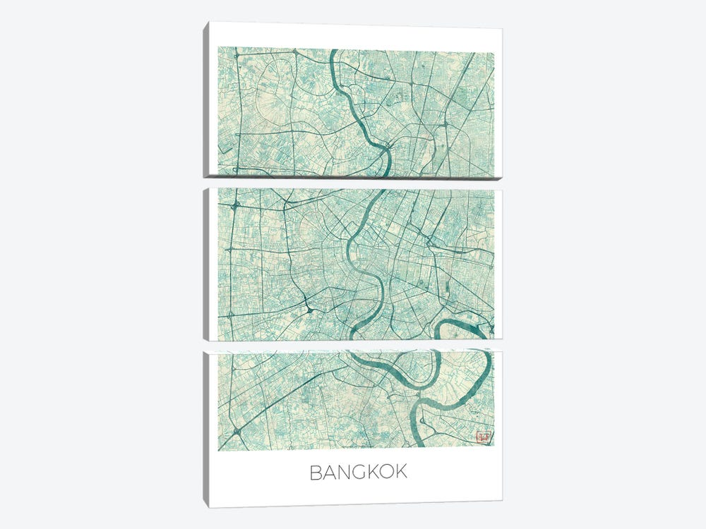 Bangkok Vintage Blue Watercolor Urban Blueprint Map by Hubert Roguski 3-piece Canvas Artwork