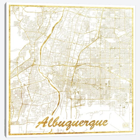 Albuquerque Gold Leaf Urban Blueprint Map Canvas Print #HUR3} by Hubert Roguski Canvas Wall Art