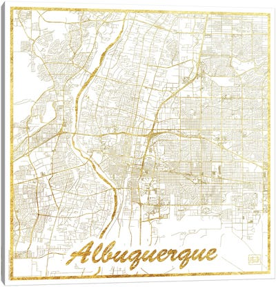 Albuquerque Gold Leaf Urban Blueprint Map Canvas Art Print