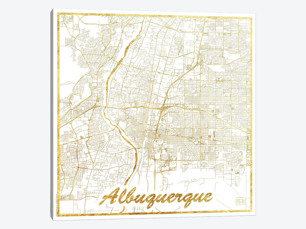 Albuquerque Gold Leaf Urban Blueprint Map by Hubert Roguski 1-piece Canvas Artwork