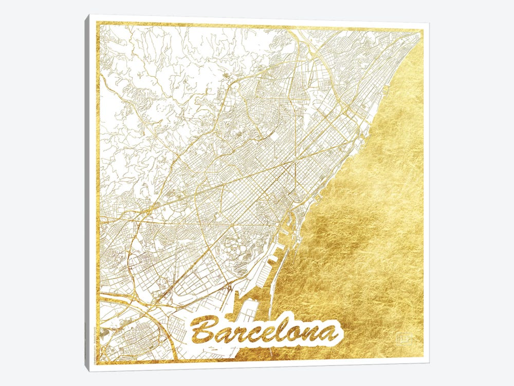 Barcelona Gold Leaf Urban Blueprint Map by Hubert Roguski 1-piece Canvas Artwork