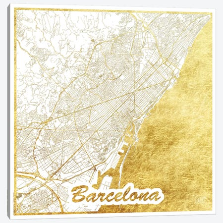 Barcelona Gold Leaf Urban Blueprint Map 3-Piece Canvas #HUR40} by Hubert Roguski Canvas Print