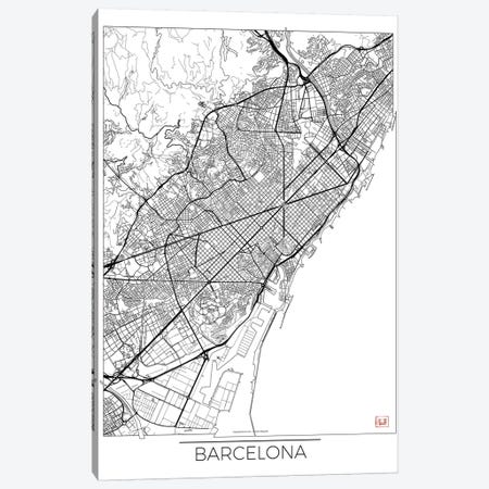 Barcelona Minimal Urban Blueprint Map 3-Piece Canvas #HUR41} by Hubert Roguski Art Print