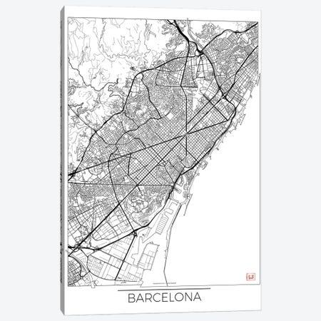 Barcelona Minimal Urban Blueprint Map Canvas Print #HUR41} by Hubert Roguski Art Print