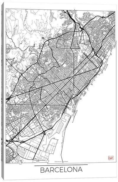 Barcelona Minimal Urban Blueprint Map Canvas Art Print