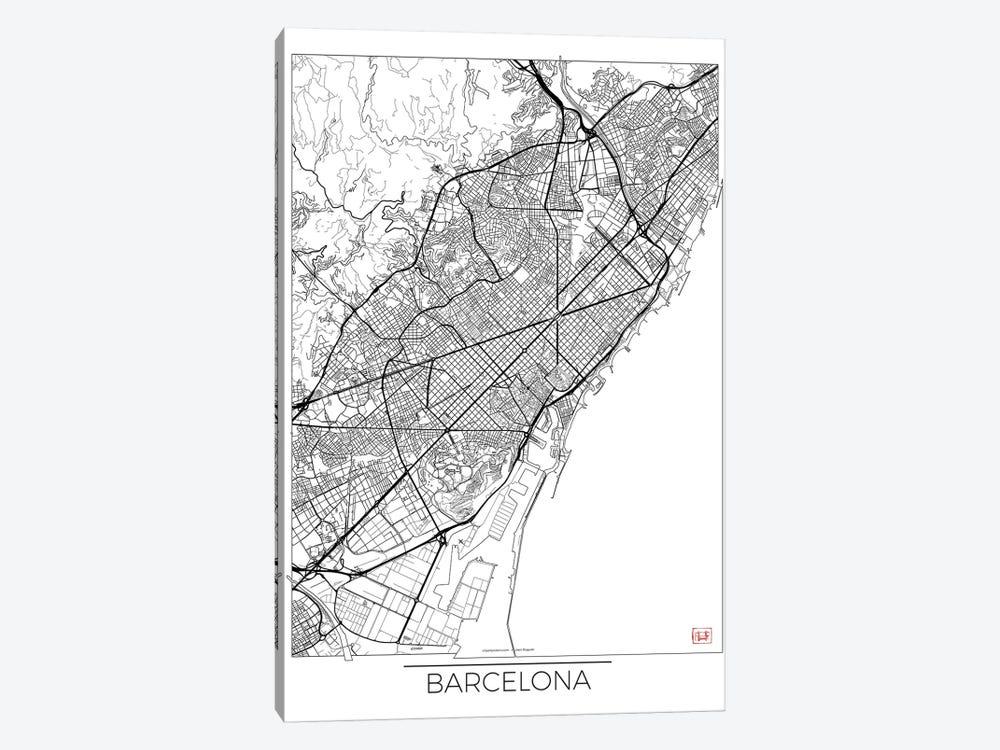 Barcelona Minimal Urban Blueprint Map by Hubert Roguski 1-piece Art Print