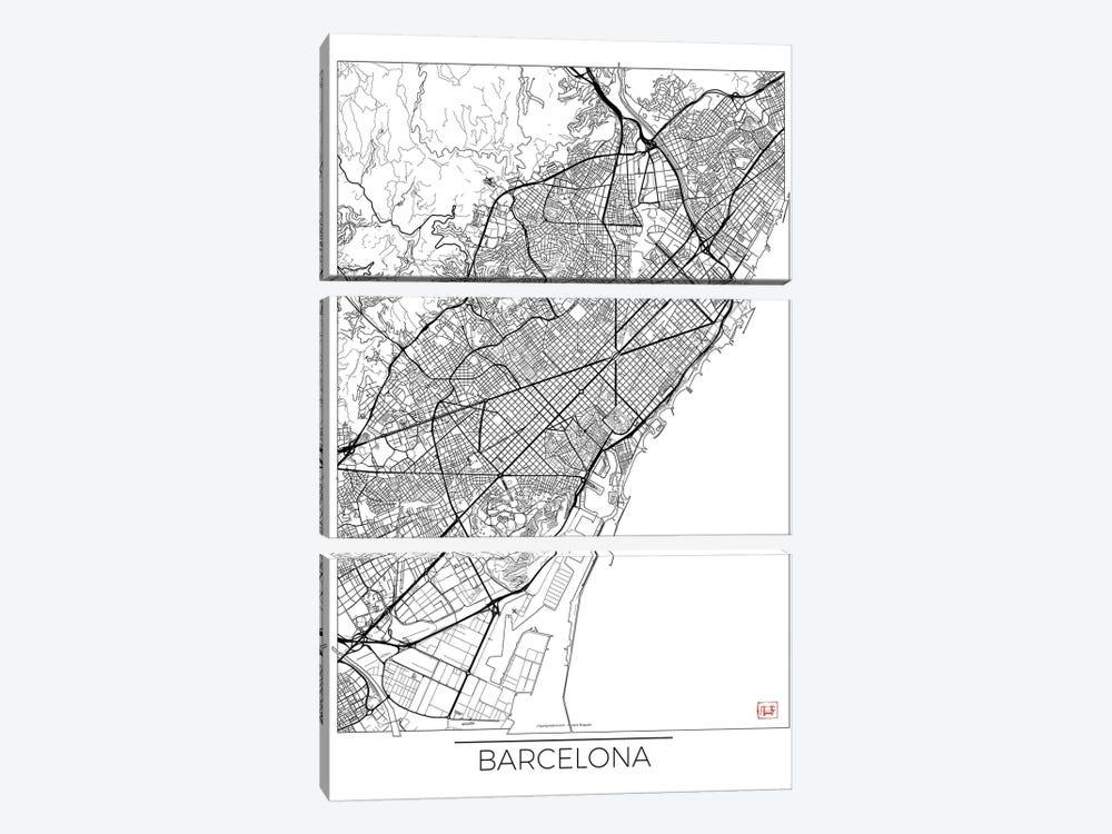 Barcelona Minimal Urban Blueprint Map by Hubert Roguski 3-piece Canvas Print