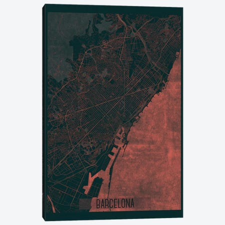 Barcelona Infrared Urban Blueprint Map 3-Piece Canvas #HUR42} by Hubert Roguski Canvas Art Print