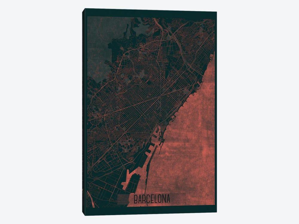 Barcelona Infrared Urban Blueprint Map by Hubert Roguski 1-piece Canvas Art
