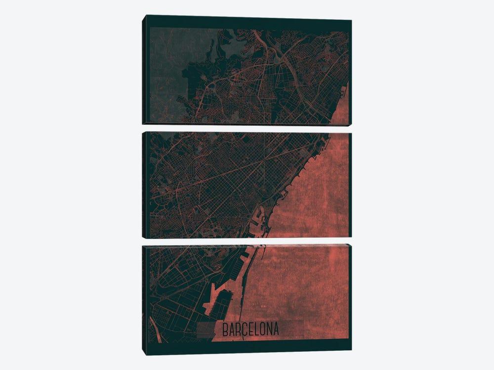 Barcelona Infrared Urban Blueprint Map by Hubert Roguski 3-piece Canvas Art
