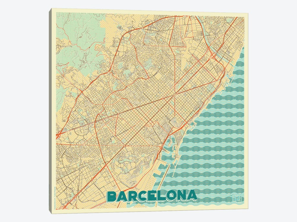 Barcelona Retro Urban Blueprint Map by Hubert Roguski 1-piece Canvas Art Print