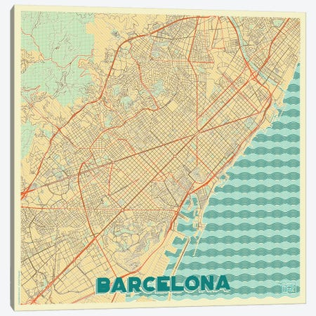 Barcelona Retro Urban Blueprint Map 3-Piece Canvas #HUR43} by Hubert Roguski Art Print