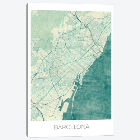 Barcelona Vintage Blue Watercolor Urban Blueprint Map Canvas Print #HUR44} by Hubert Roguski Canvas Wall Art