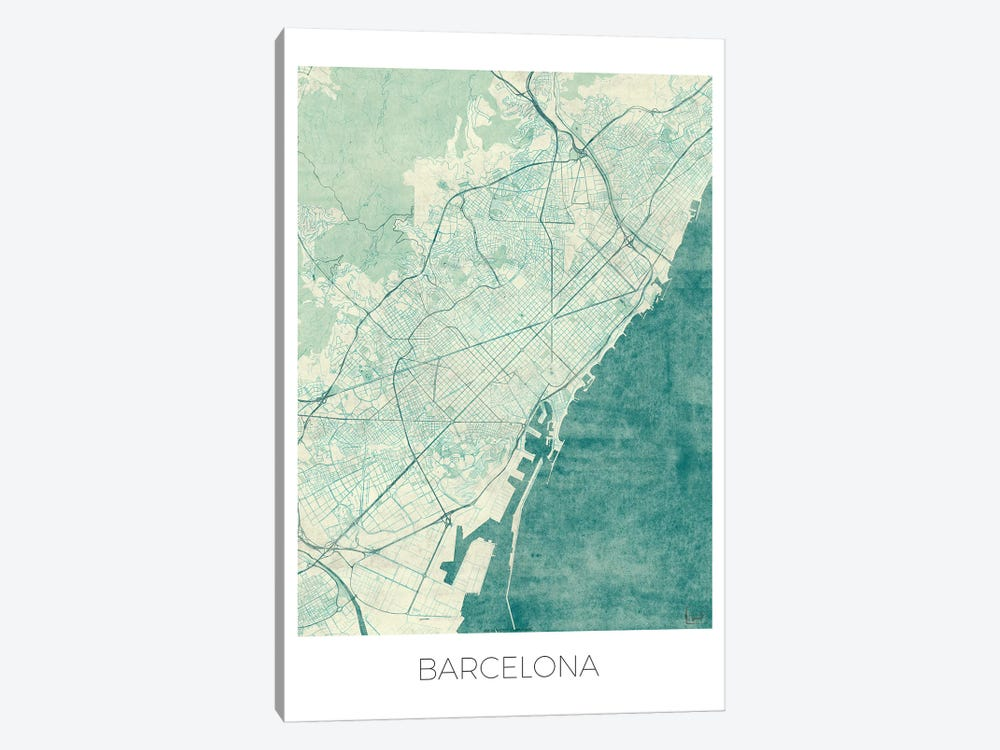 Barcelona Vintage Blue Watercolor Urban Blueprint Map by Hubert Roguski 1-piece Canvas Art