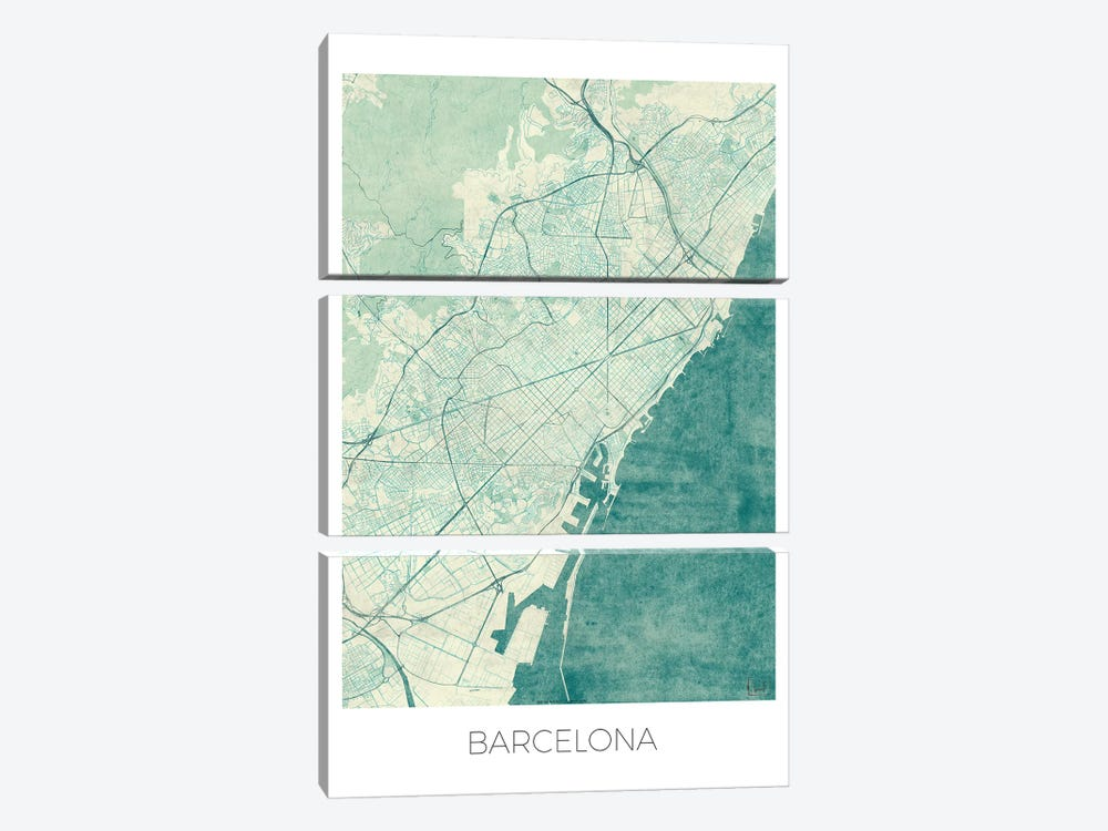 Barcelona Vintage Blue Watercolor Urban Blueprint Map by Hubert Roguski 3-piece Canvas Artwork
