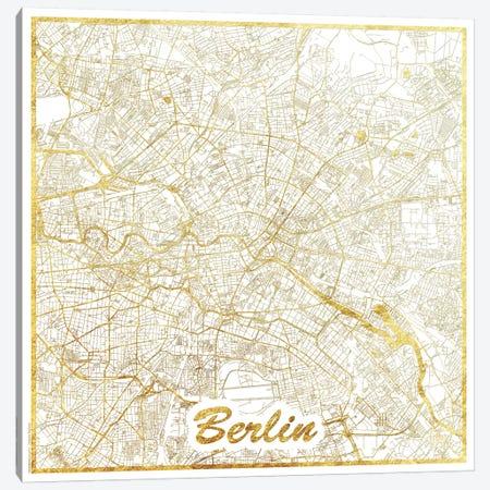 Berlin Gold Leaf Urban Blueprint Map 3-Piece Canvas #HUR45} by Hubert Roguski Canvas Wall Art