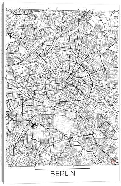 Berlin Minimal Urban Blueprint Map Canvas Art Print