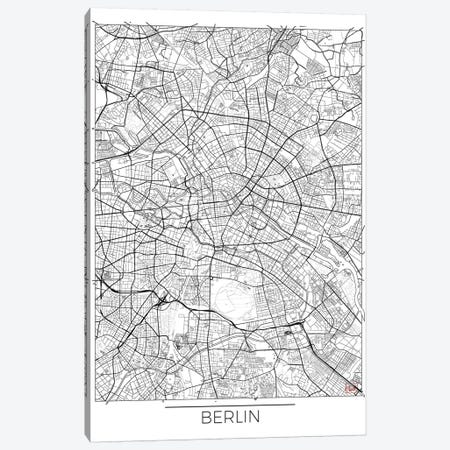 Berlin Minimal Urban Blueprint Map 3-Piece Canvas #HUR46} by Hubert Roguski Canvas Artwork