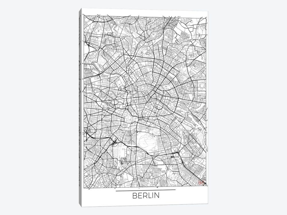 Berlin Minimal Urban Blueprint Map by Hubert Roguski 1-piece Canvas Artwork