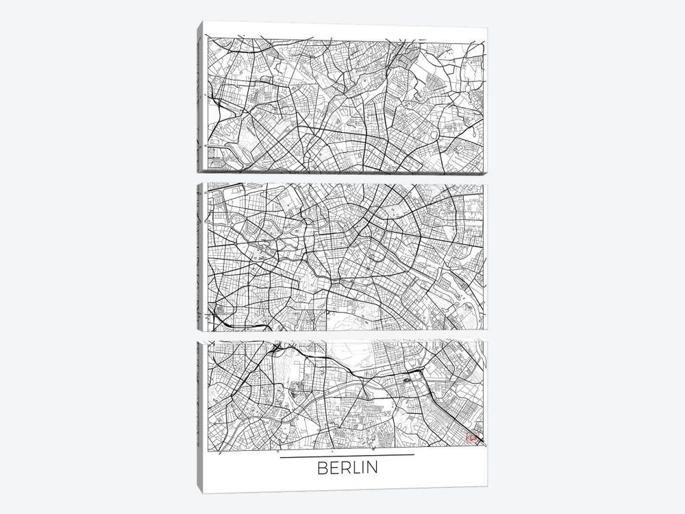 Berlin Minimal Urban Blueprint Map by Hubert Roguski 3-piece Canvas Wall Art