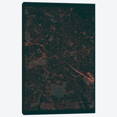 Berlin Infrared Urban Blueprint Map Canvas Print #HUR47} by Hubert Roguski Canvas Wall Art