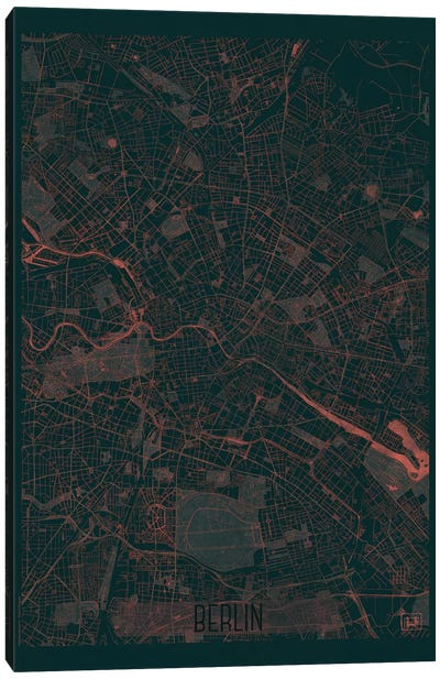 Berlin Infrared Urban Blueprint Map Canvas Art Print