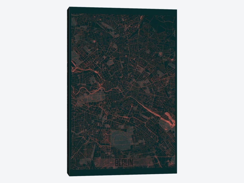 Berlin Infrared Urban Blueprint Map by Hubert Roguski 1-piece Canvas Art Print