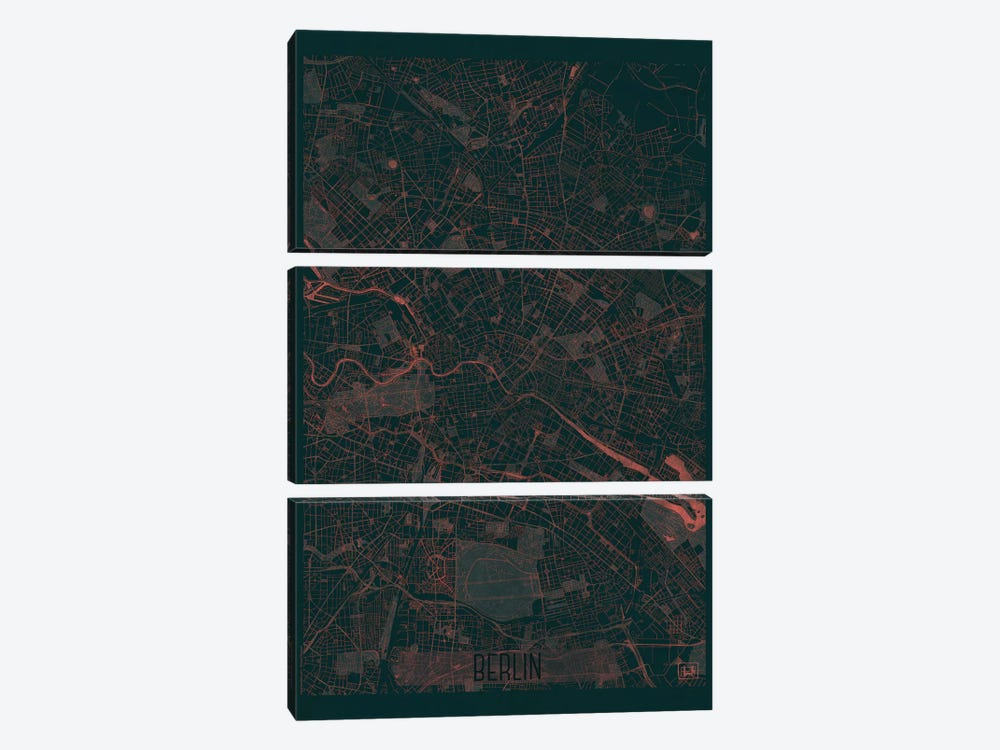 Berlin Infrared Urban Blueprint Map by Hubert Roguski 3-piece Canvas Print