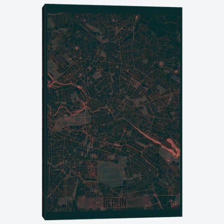 Berlin Infrared Urban Blueprint Map 3-Piece Canvas #HUR47} by Hubert Roguski Canvas Wall Art