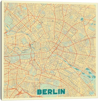 Berlin Retro Urban Blueprint Map Canvas Art Print