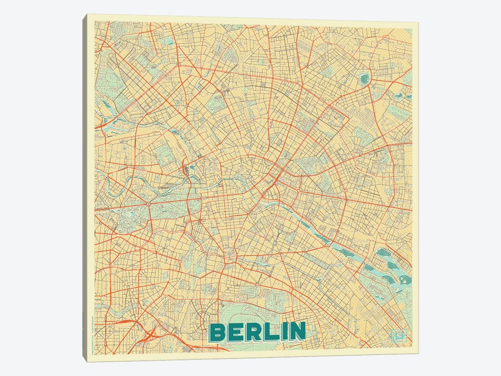 Berlin Retro Urban Blueprint Map by Hubert Roguski 1-piece Canvas Art