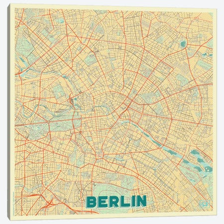Berlin Retro Urban Blueprint Map 3-Piece Canvas #HUR48} by Hubert Roguski Canvas Art Print