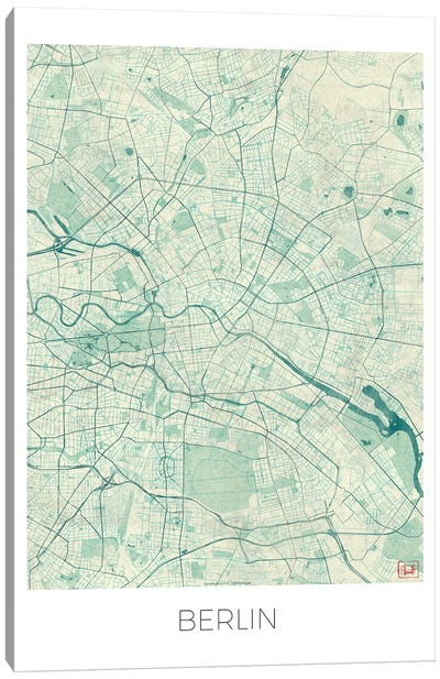 Berlin Vintage Blue Watercolor Urban Blueprint Map Canvas Art Print