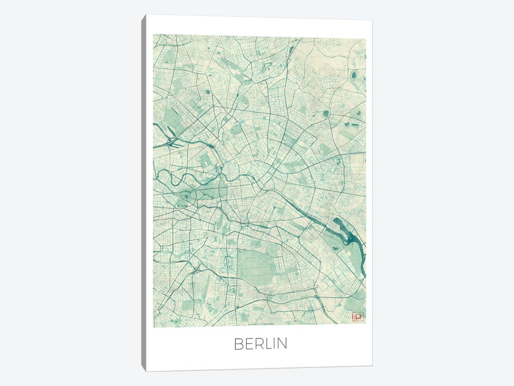 Berlin Vintage Blue Watercolor Urban Blueprint Map by Hubert Roguski 1-piece Art Print