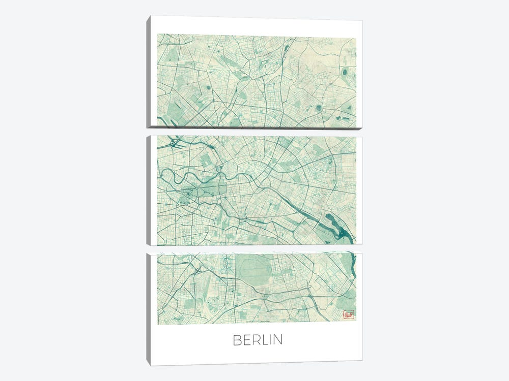 Berlin Vintage Blue Watercolor Urban Blueprint Map by Hubert Roguski 3-piece Canvas Print