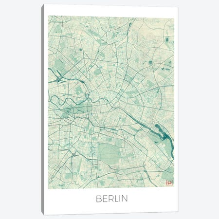 Berlin Vintage Blue Watercolor Urban Blueprint Map 3-Piece Canvas #HUR49} by Hubert Roguski Art Print