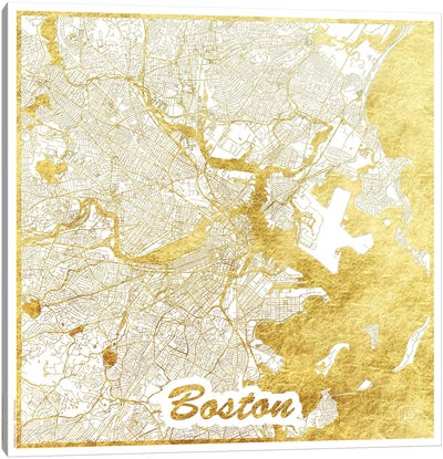 Boston Gold Leaf Urban Blueprint Map Canvas Art Print