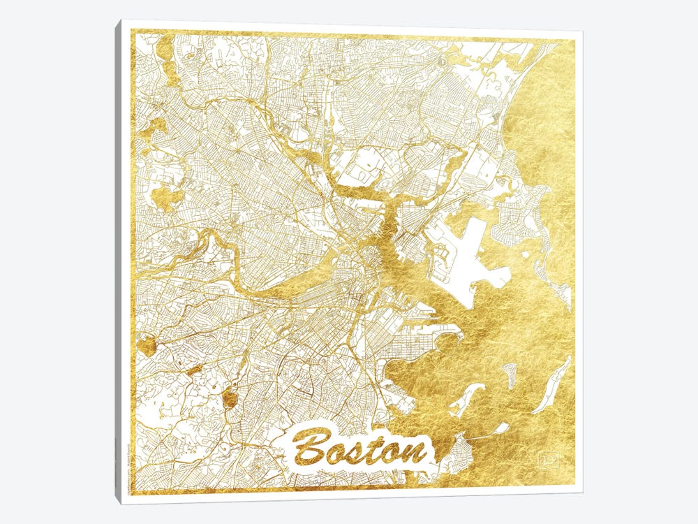 Boston Gold Leaf Urban Blueprint Map by Hubert Roguski 1-piece Canvas Print
