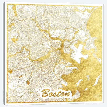 Boston Gold Leaf Urban Blueprint Map Canvas Print #HUR50} by Hubert Roguski Canvas Artwork