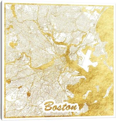 Boston Gold Leaf Urban Blueprint Map Canvas Art Print