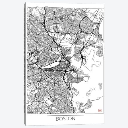 Boston Minimal Urban Blueprint Map 3-Piece Canvas #HUR51} by Hubert Roguski Canvas Artwork