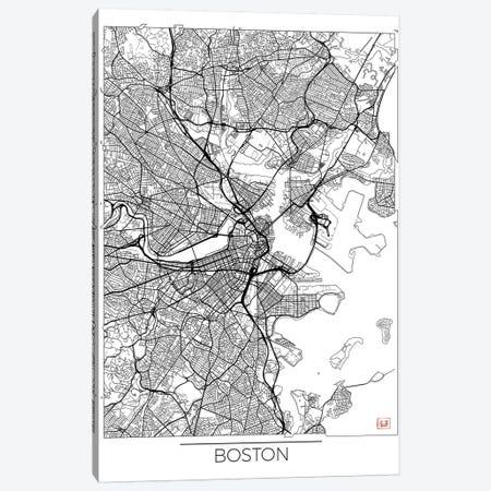 Boston Minimal Urban Blueprint Map Canvas Print #HUR51} by Hubert Roguski Canvas Artwork