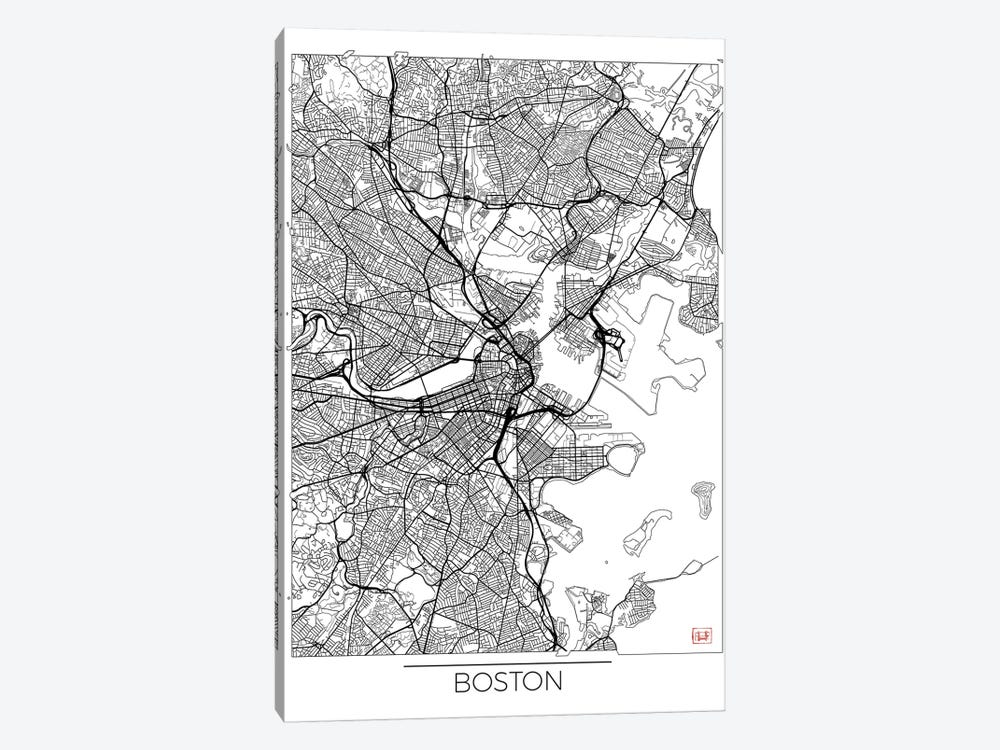 Boston Minimal Urban Blueprint Map by Hubert Roguski 1-piece Canvas Artwork