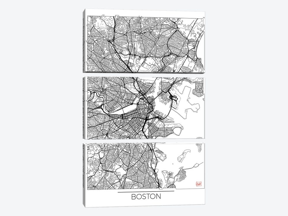 Boston Minimal Urban Blueprint Map by Hubert Roguski 3-piece Canvas Artwork