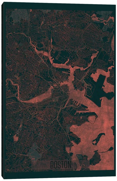 Boston Infrared Urban Blueprint Map Canvas Art Print