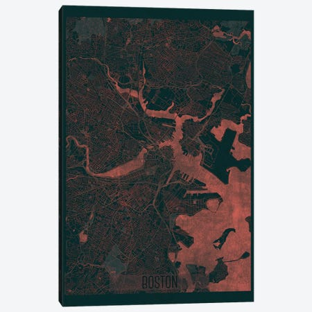 Boston Infrared Urban Blueprint Map Canvas Print #HUR52} by Hubert Roguski Canvas Artwork
