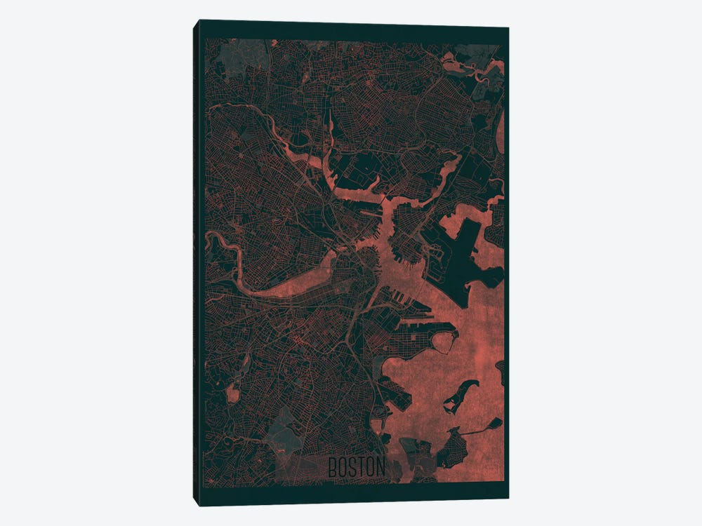 Boston Infrared Urban Blueprint Map by Hubert Roguski 1-piece Canvas Art Print