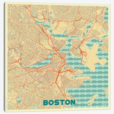 Boston Retro Urban Blueprint Map 3-Piece Canvas #HUR53} by Hubert Roguski Canvas Art