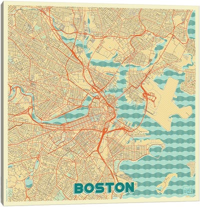 Boston Retro Urban Blueprint Map Canvas Art Print